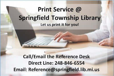 To schedule print service call 248-846-6550